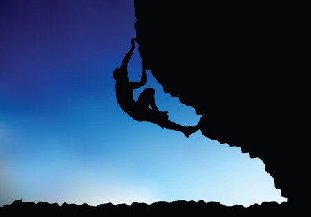 one person only: illustration of senior climber man silhouette  - in climbing pose