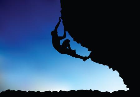 escalando: ilustraci�n del hombre mayor escalador silueta - en la escalada plantear