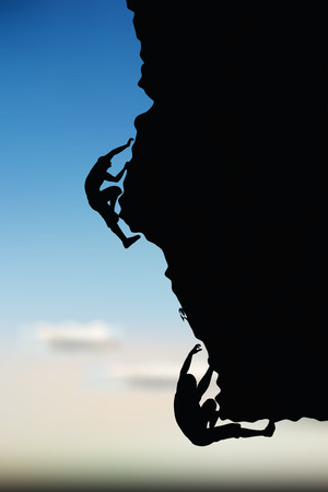 cragsman: illustration of senior climber man silhouette  - in climbing pose