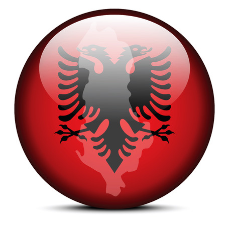 Illustration of  Map on flag button of Republic of Albania Vector