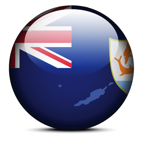anguilla: Map on flag button of Anguilla Illustration