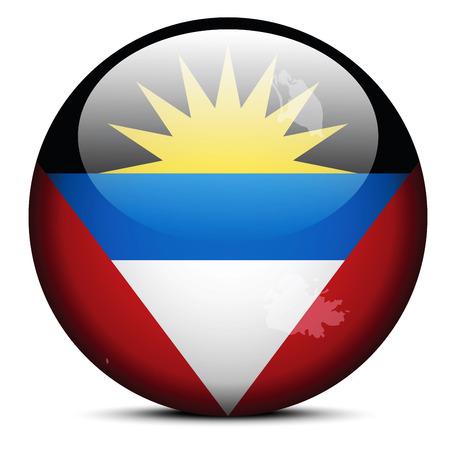 barbuda: Map on flag button of Antigua and Barbuda