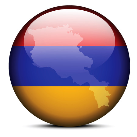 Map on flag button of Republic of Armenia Vector