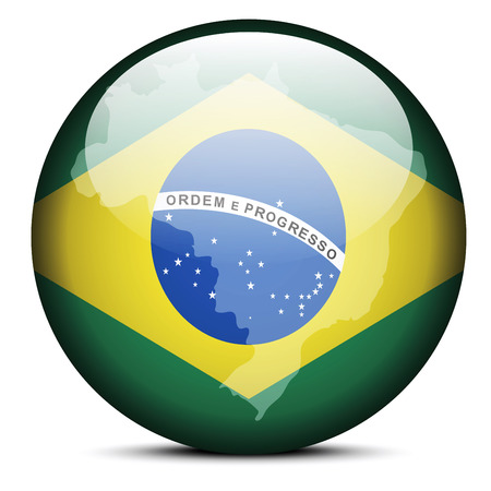 Vector Image - Map on flag button of Federative Republic of Brazil Vector