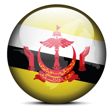map of brunei: Vector Image - Map on flag button of Brunei Darussalam Illustration