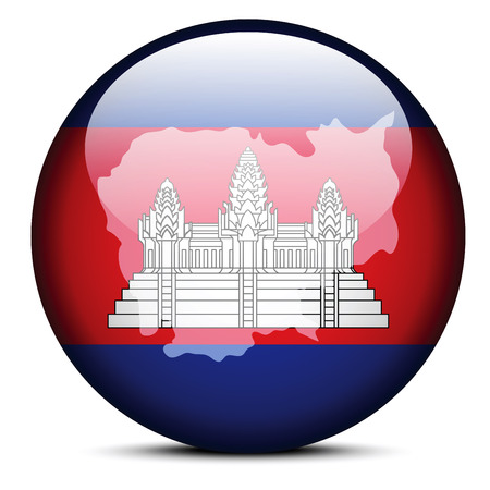 cambodian flag: Vector Image - Map on flag button of Kingdom of Cambodia Illustration