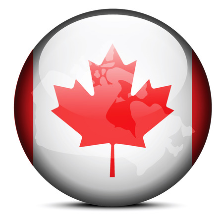 Vector Image - Map on flag button of Canada