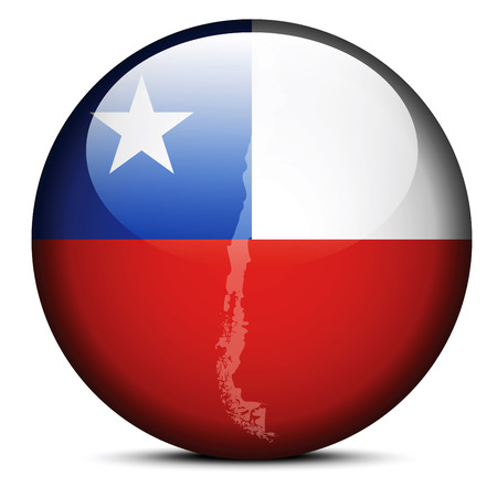 santiago: Vector Image - Map on flag button of Republic of Chile Illustration