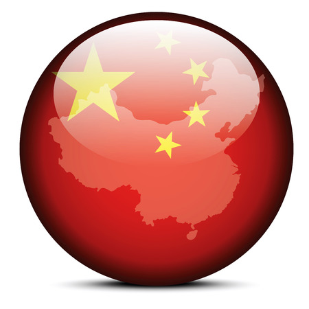 peoples: Vector Image - Map on flag button of Peoples Republic of China