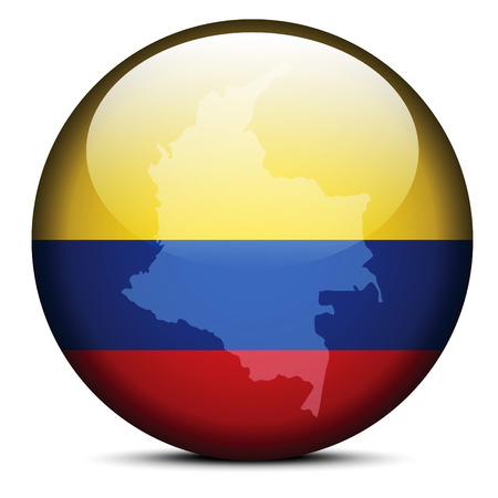 Vector Image - Map on flag button of Republic of Colombia Vector