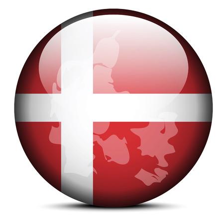 danish flag: Vector Image - Map on flag button of Kingdom of Denmark