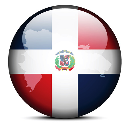 Vector Image - Map on flag button of Dominican Republic Vector