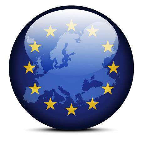 Imagen vectorial - Mapa en el botón de la bandera de continente de Europa Foto de archivo - 36274442