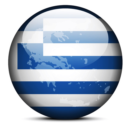 hellenic: Vector Image - Map on flag button of Hellenic Republic, Greece