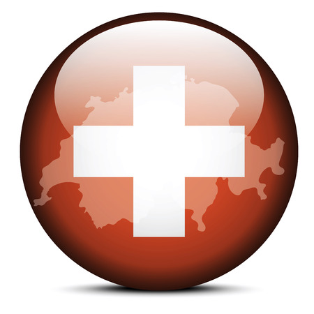 swiss flag: Vector Image - Map on flag button of Switzerland, Swiss Confederation Illustration