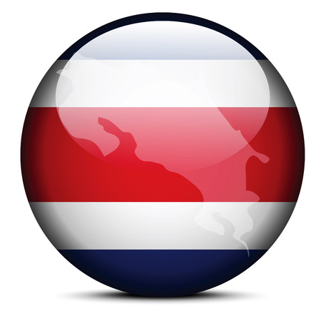 Vector Image - Map on flag button of Republic of Costa Rica Vector