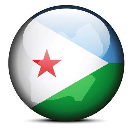 Vector Image - Map on flag button of Republic of Djibouti