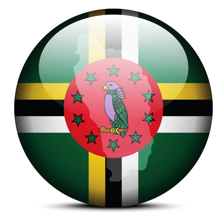 commonwealth: Vector Image - Map on flag button of Commonwealth of Dominica