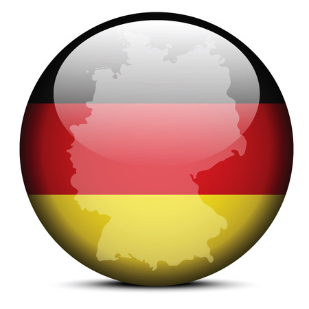 federal republic of germany: Vector Image - Map on flag button of Federal Republic of Germany Illustration