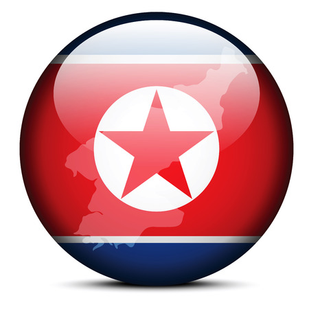 peoples: Vector Image - Map on flag button of Democratic Peoples Republic of Korea, North Korea