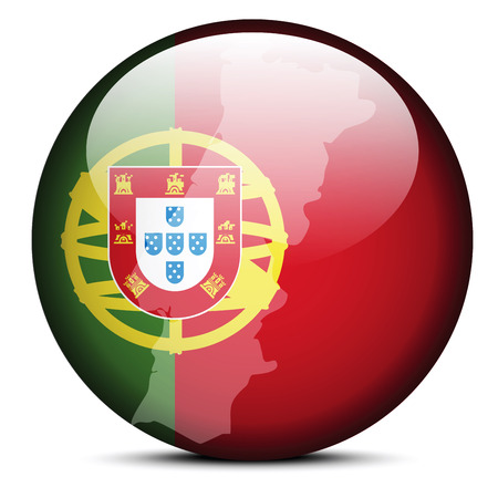 iberian: Vector Image - Map on flag button of Portuguese Republic, Portugal Illustration