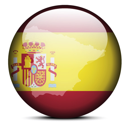 kingdom of spain: Vector Image - Map on flag button of Kingdom of Spain