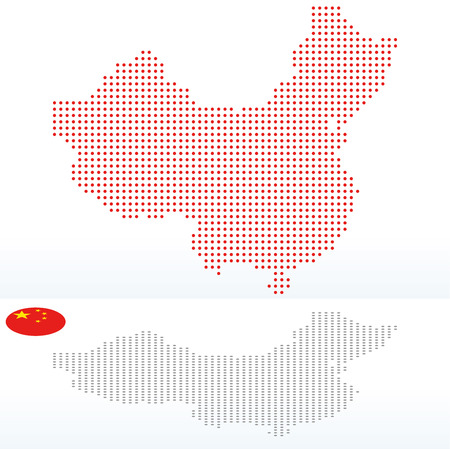 peoples republic of china: Vector Image -  Map of Peoples Republic of China with with Dot Pattern