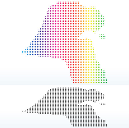 instance: Vector Image -  Map of State of Kuwait with with Dot Pattern