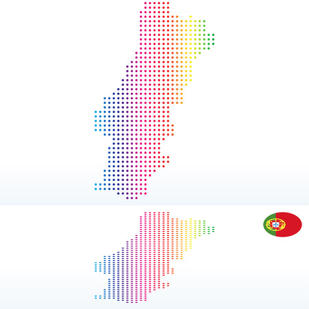 instance: Vector Image -  Map of Portuguese Republic, Portugal with with Dot Pattern