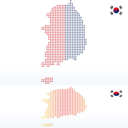 Vector Image -  Map of Republic of Korea, South Korea with with Dot Pattern