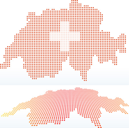 confederation: Vector Image -  Map of Switzerland, Swiss Confederation with with Dot Pattern
