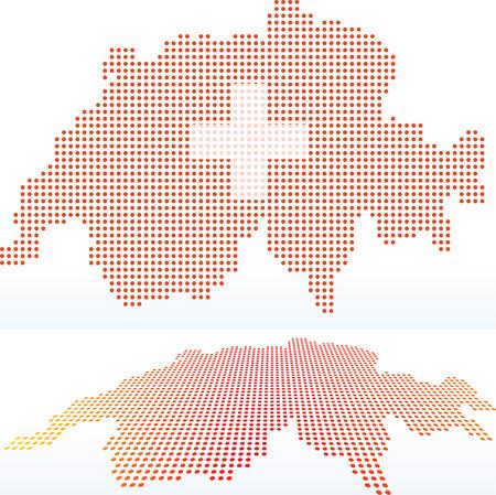 confederation: Vettore Immagine - Mappa della Svizzera, Confederazione Svizzera con modello di puntino