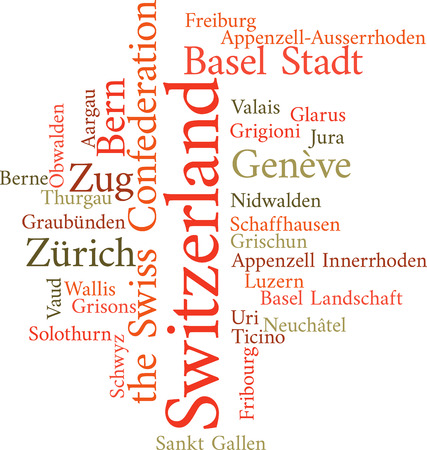 wallis: Illustration of the Swiss Cantons in word clouds isolated on white background