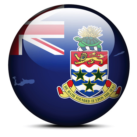 cayman islands: Vector Image - Map on flag button of Cayman Islands