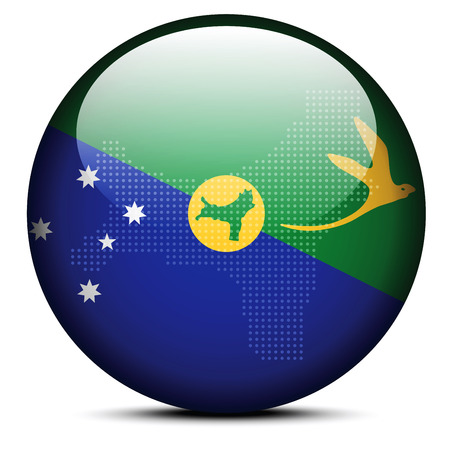 kiribati: Vector Image - Map with Dot Pattern on flag button of Christmas Island Illustration