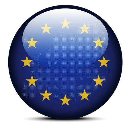 Vector Image - Map with Dot Pattern on flag button of Continent of Europe Illustration
