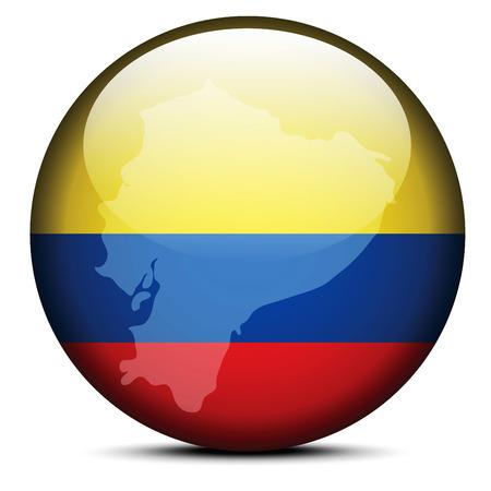 republic of ecuador: Vector Image - Map on flag button of Republic of Ecuador Illustration