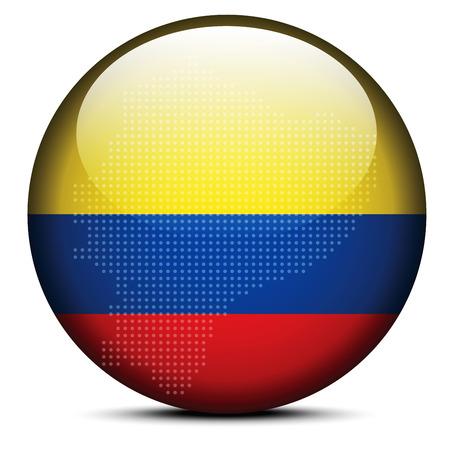 republic of ecuador: Vector Image - Map with Dot Pattern on flag button of Republic of Ecuador