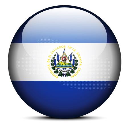 mapa de el salvador: Imagen vectorial - Mapa de patr�n de puntos en el bot�n de la bandera de la Rep�blica de El Salvador