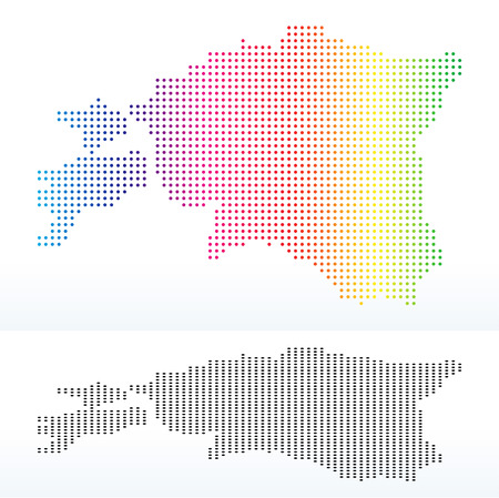 Vector Image - Map of Republic of Estonia with Dot Pattern