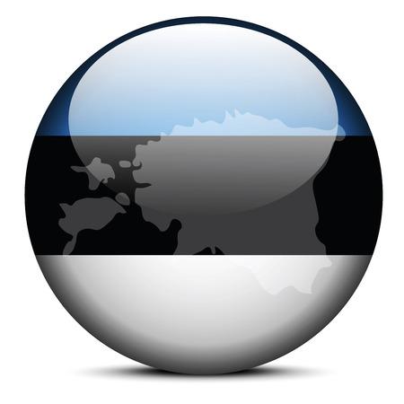 Vector Image - Map on flag button of Republic of Estonia