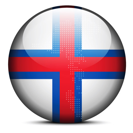 whaling: Vector Image - Map with Dot Pattern on flag button of Faroe Islands Illustration
