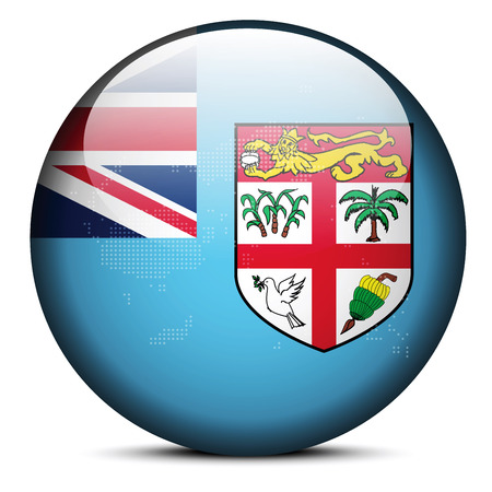 fiji: Vector Image - Map on flag button of Republic of Fiji