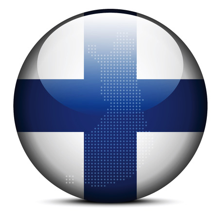 Vector Image - Map with Dot Pattern on flag button of Republic of Finland