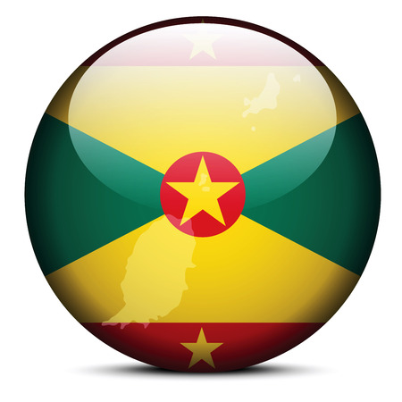 grenada: Vector Image - Map on flag button of Grenada Illustration