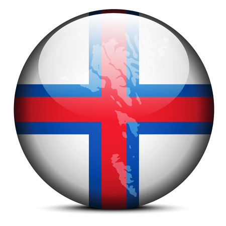 Vector Image - Map on flag button of Faroe Islands