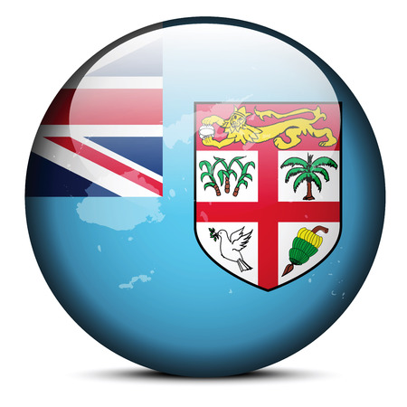 fijian: Vector Image - Map on flag button of Republic of Fiji