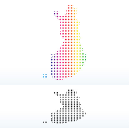 Vector Image - Map of Republic of Finland with Dot Pattern Illustration