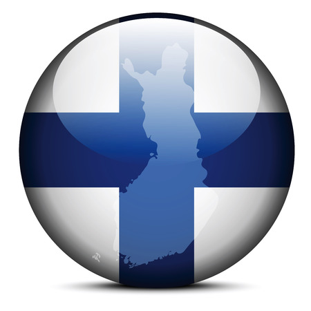 Vector Image - Map on flag button of Republic of Finland