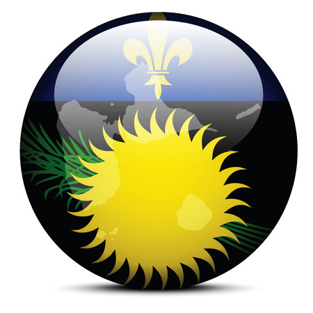 guadeloupe: Vector Image - Map on flag button of Guadeloupe Illustration